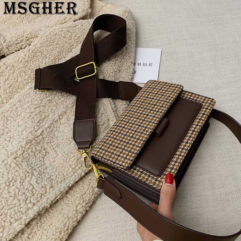 MSGHER Plaid Panelled Flap Women Shoulder Bag New Style 2019 Autumn Joker Wild Canvas Belt French Style Female Bag WB3250