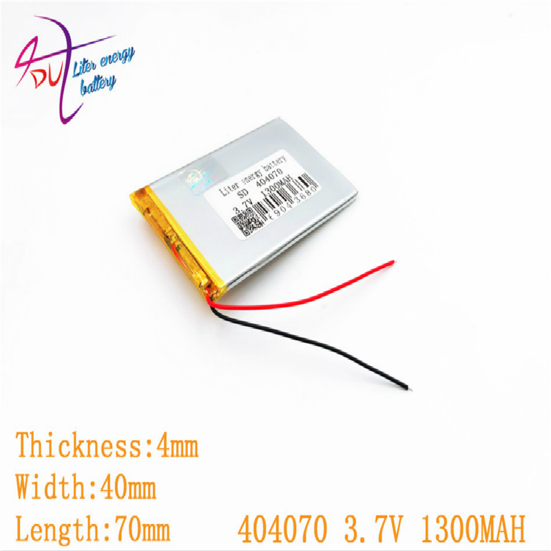 3.7V 1300mAh 384070 <font><b>404070</b></font> Lithium Polymer Li-Po li ion Rechargeable Battery For Mp3 MP4 MP5 GPS mobile bluetooth image
