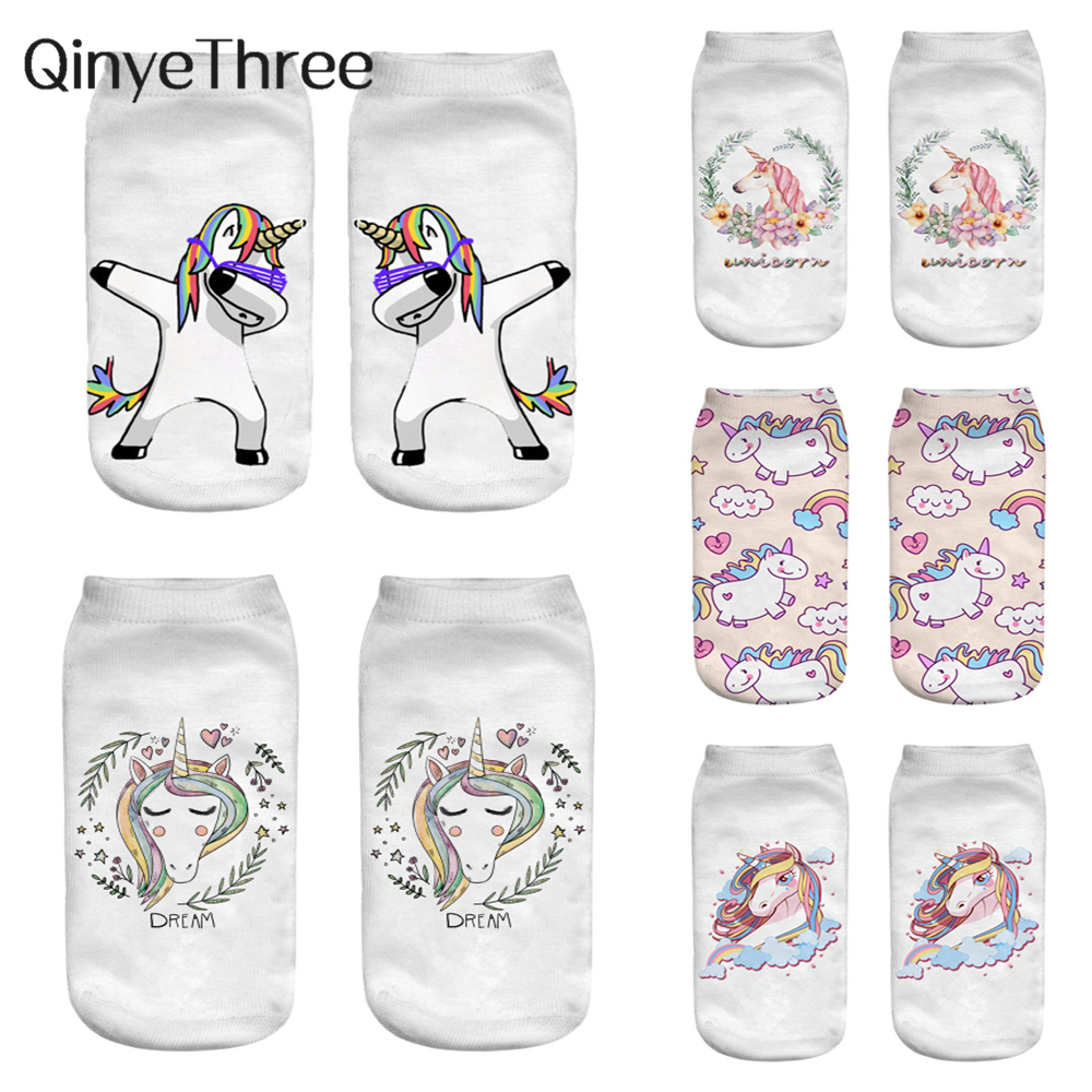 New Harajuku 3D Print Unicorn Socks Women Kawaii Ankle Licorne Chaussette Femme Calcetines Mujer Cute Art Funny Sox