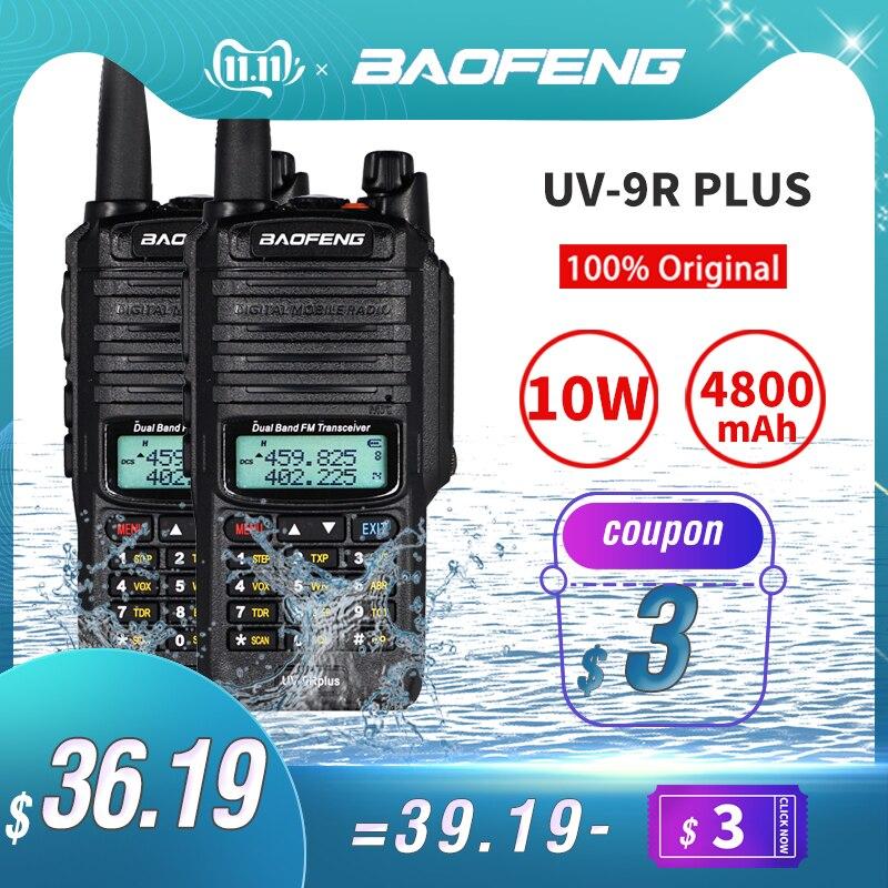 Big Sale! 10W Baofeng UV-9R Plus Walkie Talkie Waterproof Portable CB Ham Radio UV 9R Plus Dual Band Hf Transceiver Transmitter