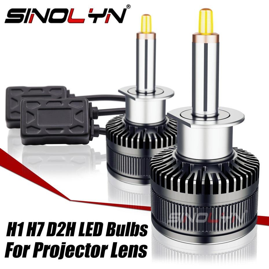 Sinolyn LED H7 H1 D2S D2H H11 Projector LED Headlight Bulb Car Lenses Fog Light Lens 70W 8000LM Accessories Retrofit 5500K 6500K