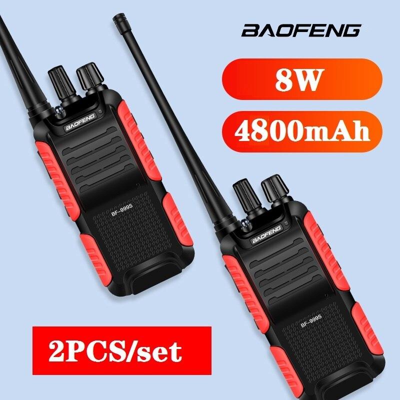 Walkie talkie baofeng de 8w e BF-999S mah, rádio de duas vias de alta potência, 10km, cb radio walkie-talkie rádio transmissor fm