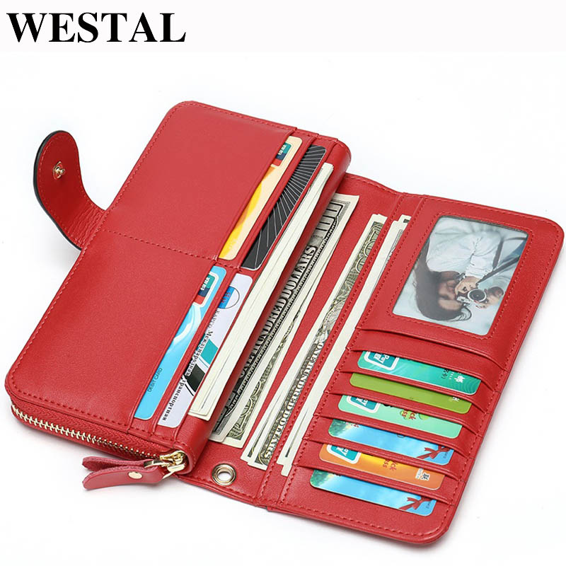 WESTAL Wallet Purse Clutch Phone-Cardholder Female Genuine-Leather Women Long for Carteira
