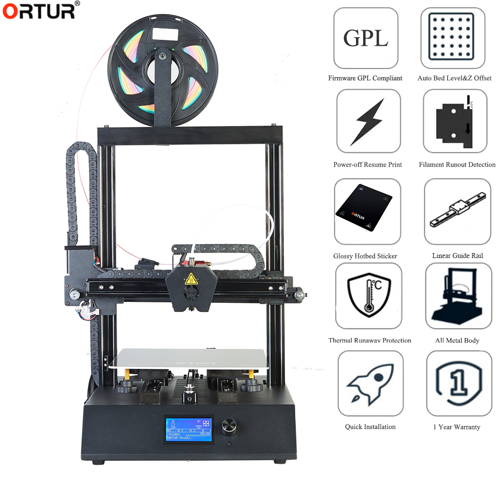 3 D Drucker Ortur 3D Linearführungsschiene Günstige 3d Drucker Maschine Automataic Nivellierung Reprap Prusa i3 FDM Ortur 3d drucker Kit DIY