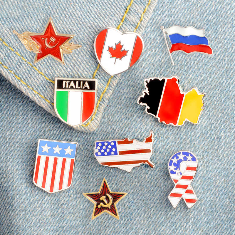 Cartoon National flag series Enamel Pins Fashion Brooches Badges Bag Clothes Accessories Lapel Pins Jewelry Gifts For Friends