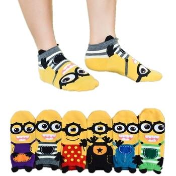 цена на Women's Spring Summer 3D Cartoon Minions Pattern Cute Cotton Socks Harajuku Fashion Street Kawaii Print Funny Happy Short Socks
