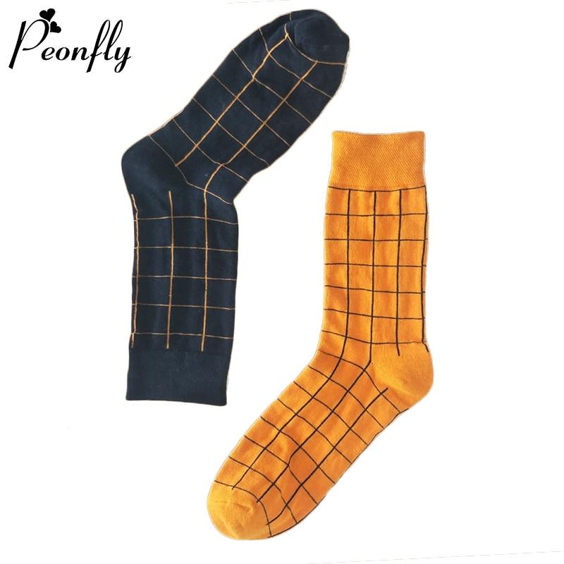 PEONFLY Harajuku Fashion Trend Men Socks Colorful Plaid Funny Socks Casual Geometric Socks Men Hip Hop Combed Cotton Sokken