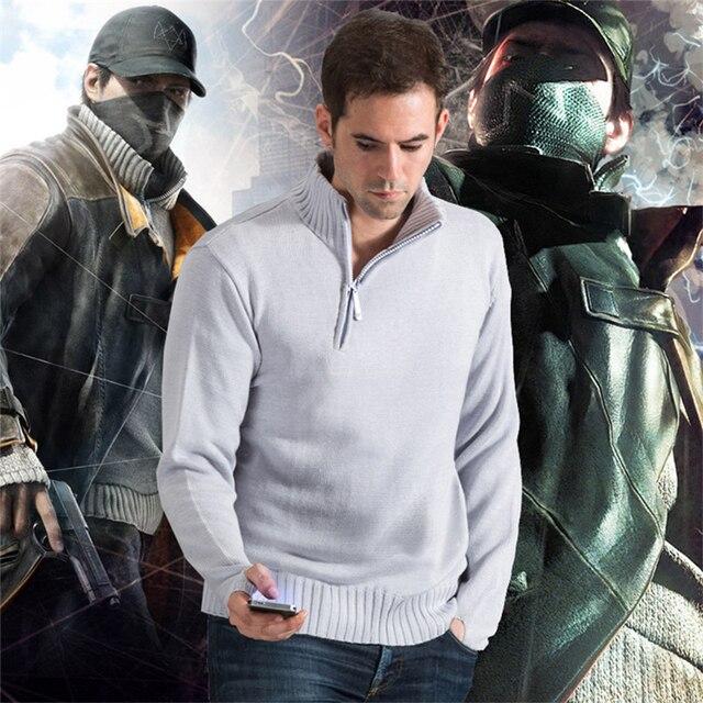 Watch Dogs Aiden Pearce костюм для косплея костюмы для взрослых мужские трикотажные вязанные Топы зимние свитера пуловер