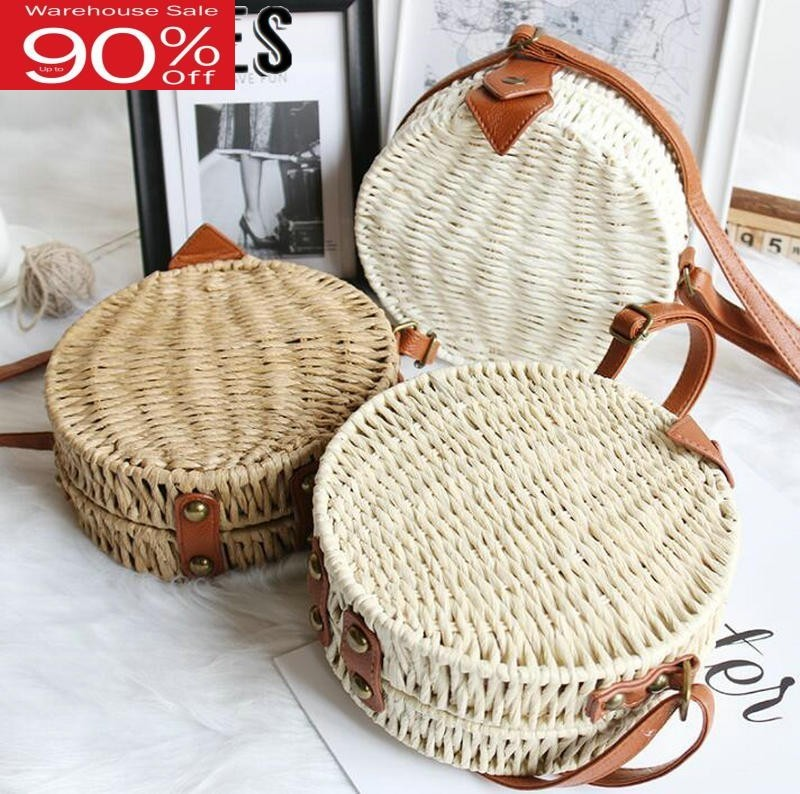 2020 Summer Women Bohemian Ratten Bali Quality Paper Rope Knitting Round Bags Circle Beach Bag