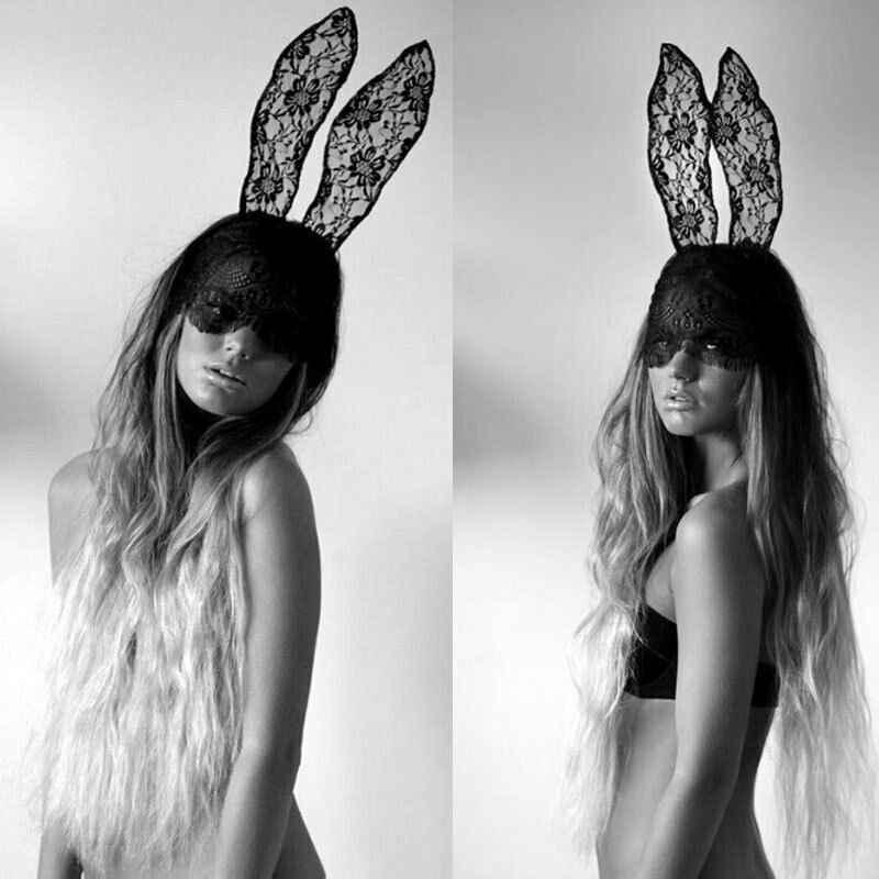 Tavşan Kulaklar Maske Dantel Siyah Katı Cadılar Bayramı Partisi Kafa Bandı Dantel Göz Steampunk Aksesuarları süslü elbise Parti Kostüm Yüz Maskesi