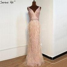Różowy frezowanie V Neck luksusowe suknie wieczorowe 2020 bez rękawów pióra syrenka formalna sukienka Serene Hill LA70440