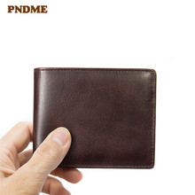 PNDME simple casual RFID anti-theft genuine leather men's wallet business vintage multi-card position credit card holder purse