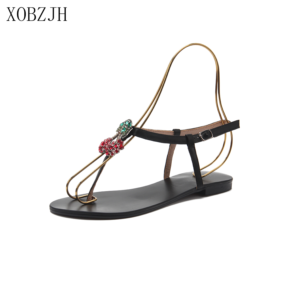 Summer Flat Sandals Women Shoes 2019 Luxury Brand Designer Black red  gold Lace Up Rhinestone G Woman s