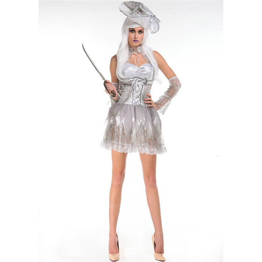 <font><b>Halloween</b></font> Medival Scary Pirate Cosplay Costume for <font><b>Women</b></font> Carnival Party <font><b>Sexy</b></font> Solid Color Lace Girdle Tube Top <font><b>Dress</b></font> with Hat image