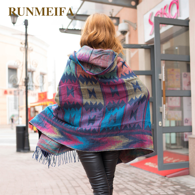 2019 Women Winter Boho Hooded Coat Poncho female Cashmere Scarves ladies Warm Shawls and Wrap Pashmina Thick Capes blanket scarf 5