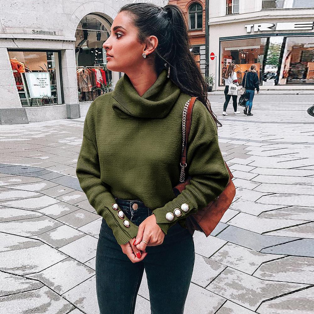 2020 New Cashmere Blend Sweater Women Tops Turtleneck Autumn Winter Female Pullover Loose Casual Warm Sweater