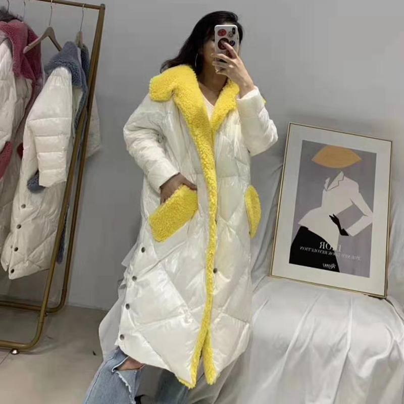 Down   jacket 2019 new arrival   coat   hooded thick warm parka sheep fur   coat   women winter X-long clothing plus size outerwear