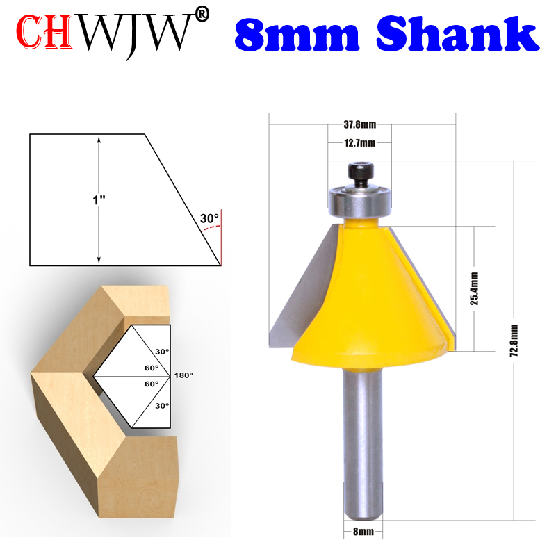 CHWJW 1PC 8mm SHank 30 Degree Chamfer & Bevel Edging Router Bit  Woodworking Cutter Woodworking Bits