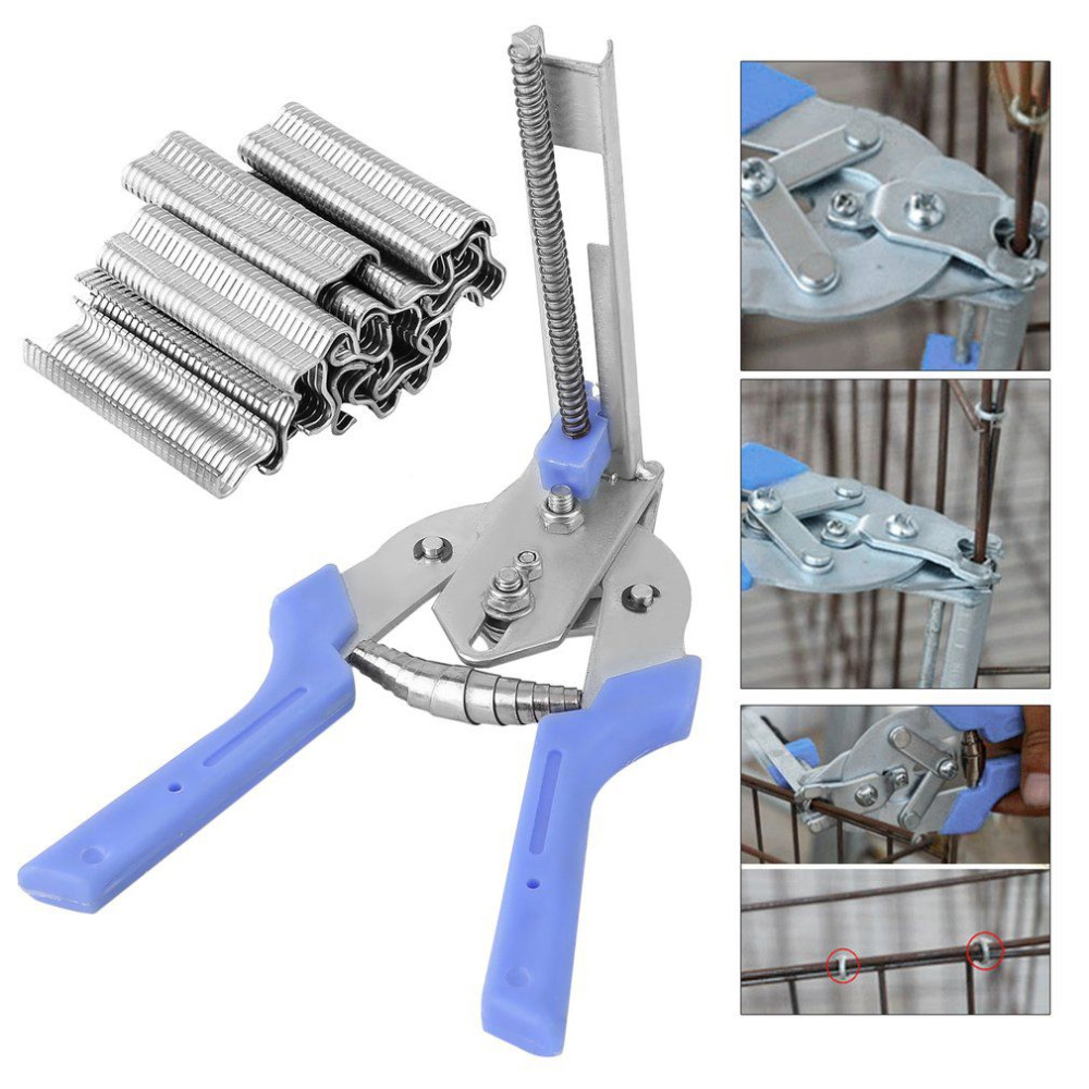 Semi-Automatic M Forceps Poultry Cage Fastening Clamp With 600pcs M-Type Nails Pigeon Rabbit Fox Chicken Cage Assembling Install