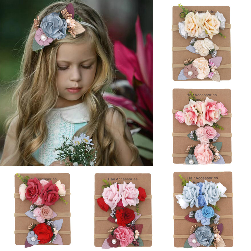 BalleenShiny 3pcs Fashion Super Soft Baby Headband Bohemian Holiday Children's Artificial Flowers Nylon High Elastic Hair Band