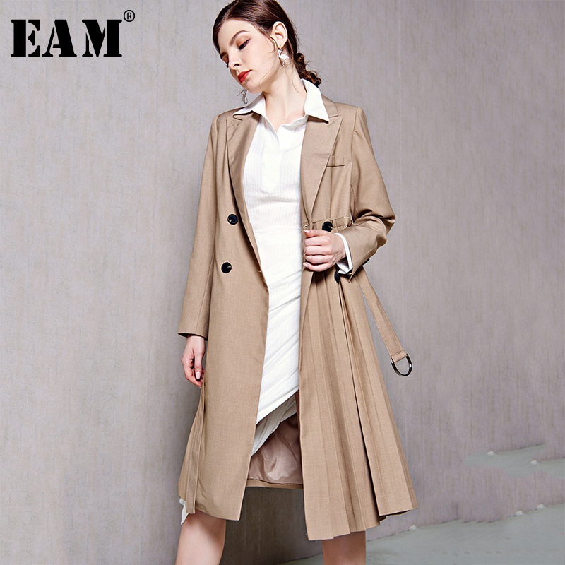 [EAM] Women Side Pleated Waistbelt Double Breasted Trench New Lapel Long Sleeve Fit Windbreaker Fashion Autumn Winter 2019 1A090
