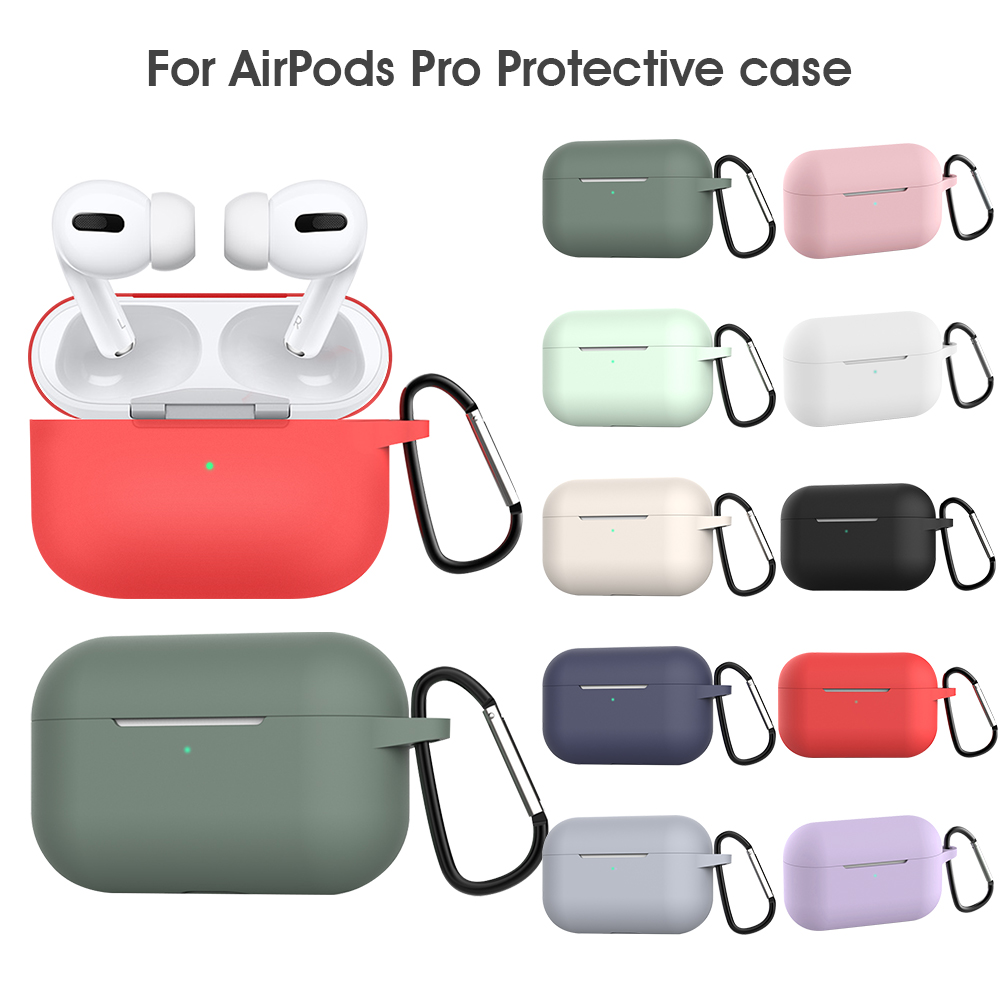 Earphone Case With Hook For Airpods Pro 2019 Scratchproof Cover For Air Pods Pro Charging Box Silicone Protective Cover