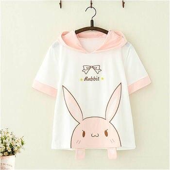 Summer Cute Woman Sweatshirt Tops Cute Bunny Hoodie Embroidery Rabbit Woman Short Sleeve Hooded Hoody Harajuku Pink Hoodies цена 2017