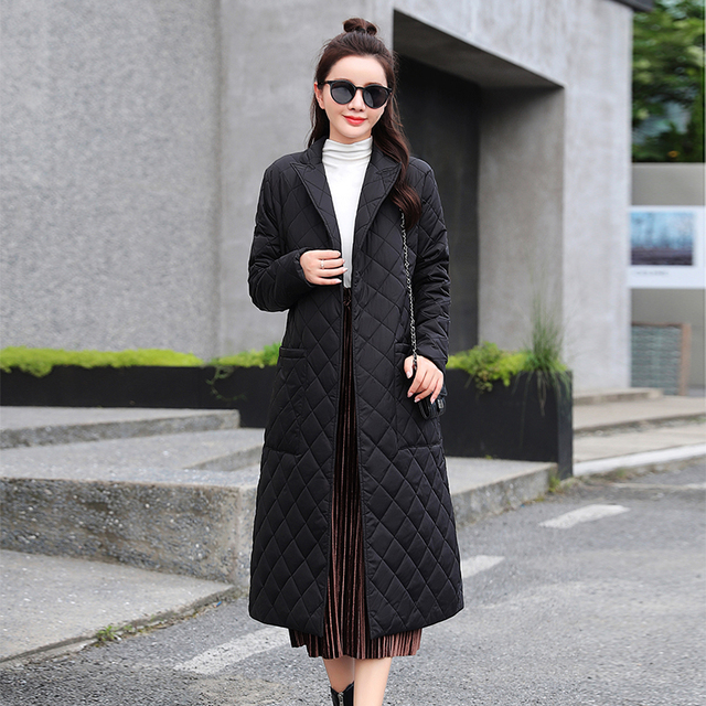 2021 Casual sashes women parkas Long straight winter coat with rhombus pattern Deep pockets tailored collar stylish outerwear 4