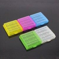 Caja de almacenamiento de plástico duro, 4 Uds., cubierta para batería recargable AA AAA, contenedor de batería 14500 10440