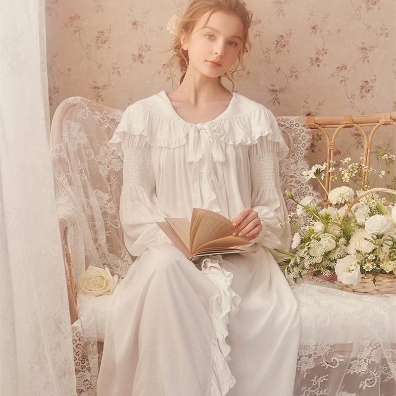 Ladies Sleepwear Cotton Nightgown Princess Nightdress Classical Royal Nightgown High Quality