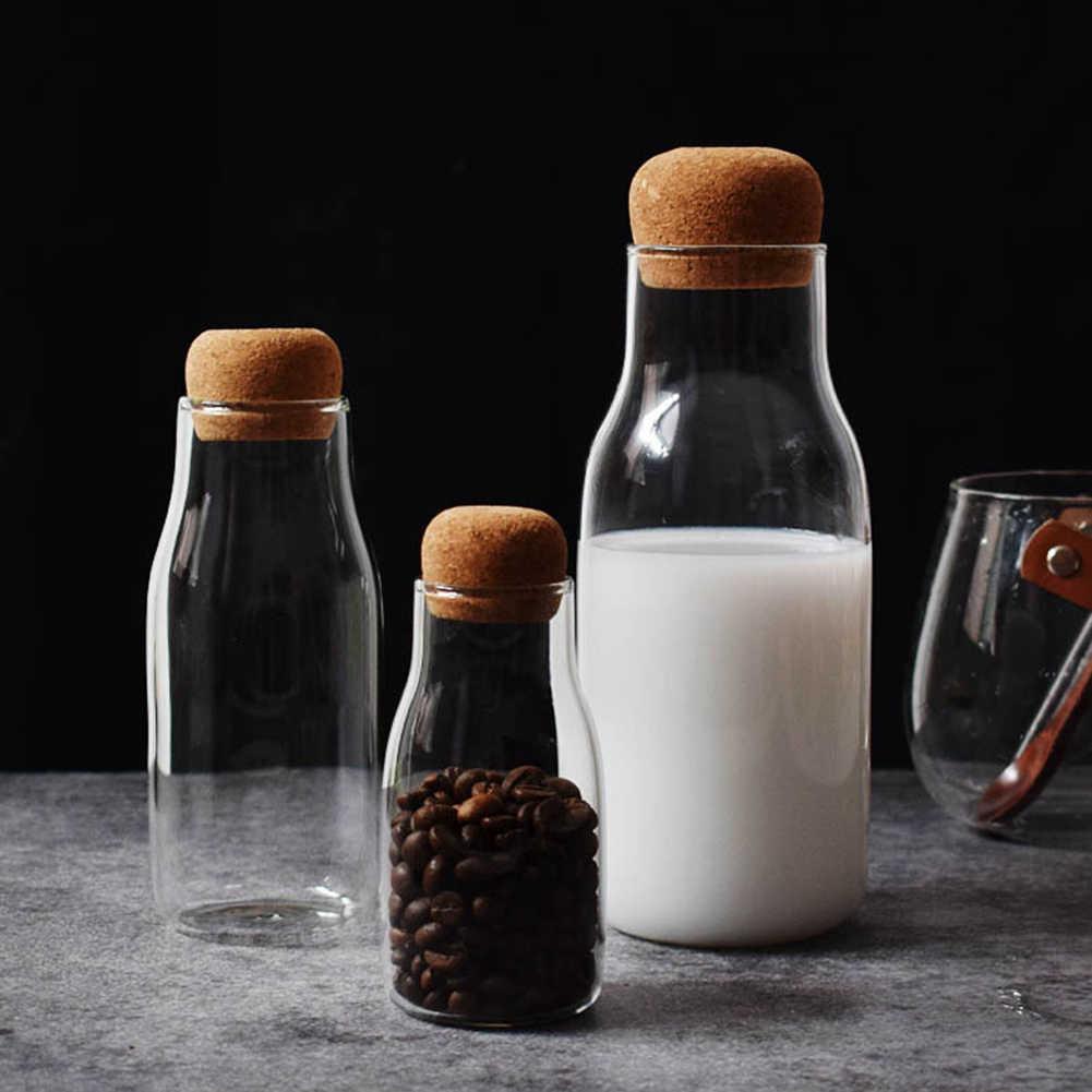 150/300/700 Ml Botol Penyimpanan Bumbu Gula Teh Kopi Cork Stopper Kaca Dapat 2019