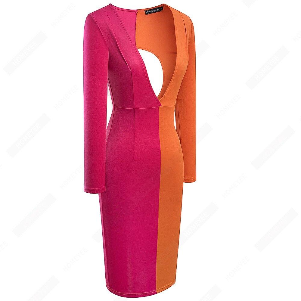Fashion Sexy Deep V Neck Back Hollow Bodycon Morden Casual Pub Bar Party Dress E466 2