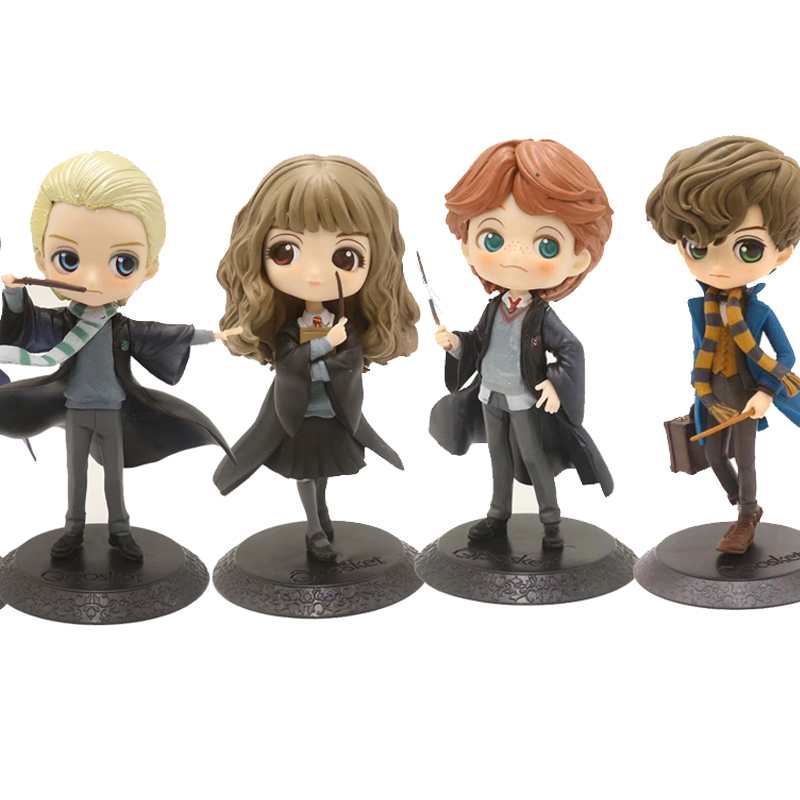 QPosket Big  Eyes Potter  Weasley Ron Hermione Granger Draco Malfoy Action Figure Model Toys Doll For Gift