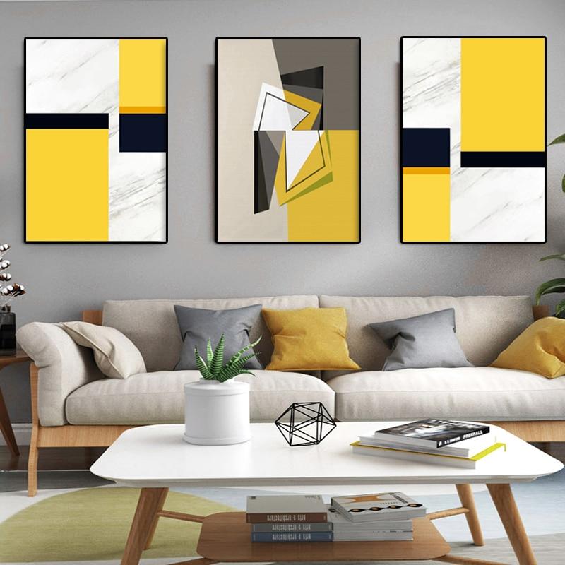 3 plošče Sodobna stenska umetnost Abstraktne akvarele odtise Rumena - Dekor za dom - Fotografija 2