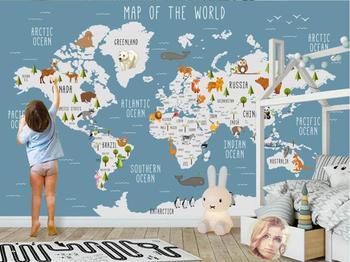 Beibehang Custom tapete foto cartoon welt karte kinderzimmer hintergrund wand dekoration malerei 3d tapete