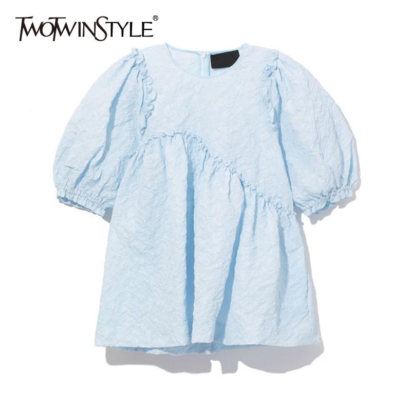 TWOTWINSTYLE Casual Asymmetrical Women Shirts O Neck Lantern Half Sleeve Loose Patchwork Ruffles Irregular Loose Blouses Female