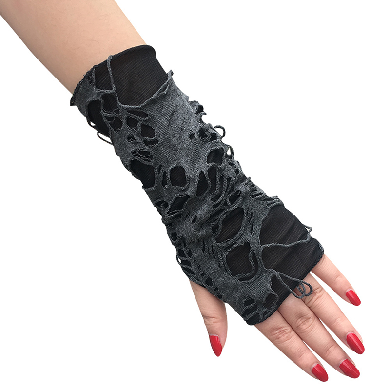 Gothic Punk Party Dress Up Accessories Shabby Style glove women Halloween Cosplay gloves Black Ripped Holes Fingerless Gloves