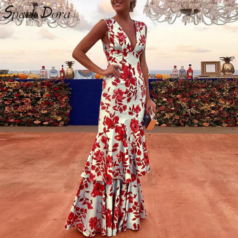 SparkDora Spring And Summer 2020 Printed Maxi And Floor Long Dress Sexy Sleeveless Mid Waist Deep V Ruffle Dress