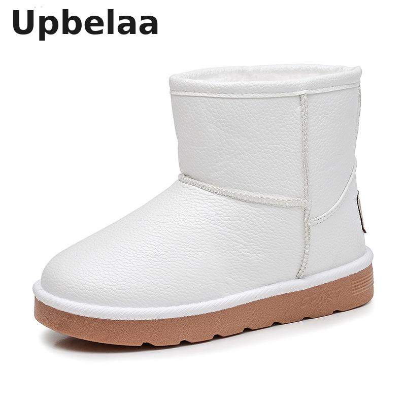 Kids Winter Shoes Plush Warm Girls Snow Boots Waterproof Children Boots Boys PU Leather Baby Toddler Water Shoes Non-slip Flats