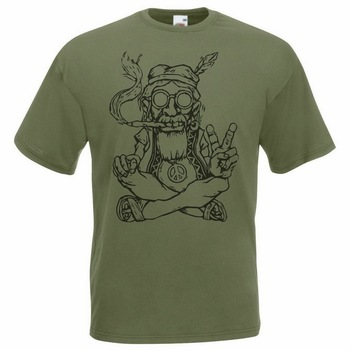 Mens Olive Green Hippy Peace T-Shirt Gents Weed Hippie 420 Festival Tshirt TEE Shirt Fashion Classic Style
