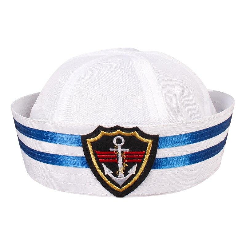 infantil Capit/án Sombrero Accesorio de Disfraz Blanco Sombrero de Marinero con motivo naval Oficial MAR Capit/án Disfraz Sombrero