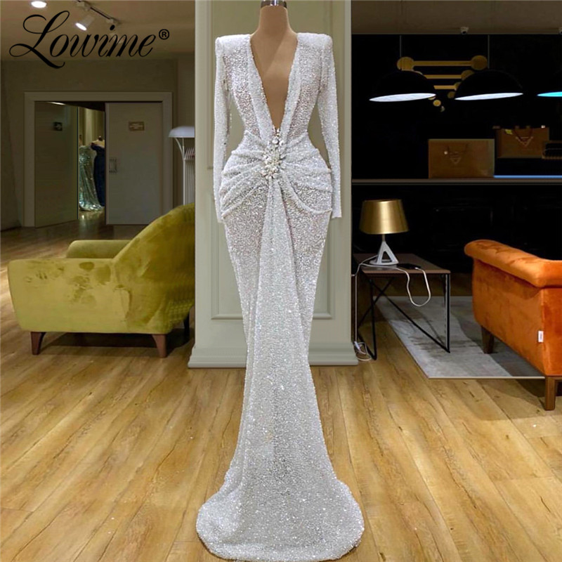 Vintage V Neck White Evening Dresses 2020 Couture Mermaid Long Sleeves Formal Arabic Evening Gowns Dubai Kaftans Party Dress