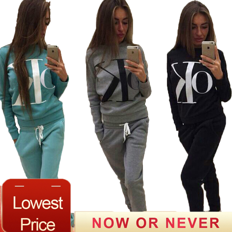 Autumn Winter 2 Piece Set Women Hoodie Pants Letter Printed Tracksuit Pullover Sweatshirt Trousers Chandal Mujer Tracksuit Suits