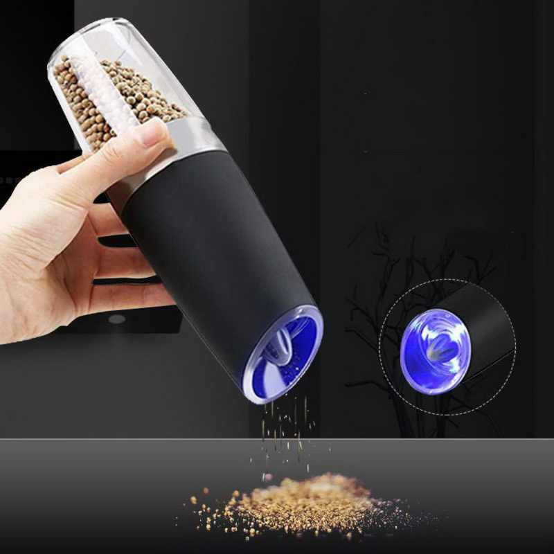 الكهربائية الفلفل مطحنة التوابل التلقائي الإبداعية LED الكهربائية الأسود الملح السيراميك مطحنة التوابل مطحنة التوابل أداة المطبخ جديد