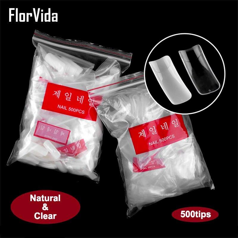 Florvida 500pcs Half Nail Tips False Nails Finger Beauty Fake Natural Clear Style
