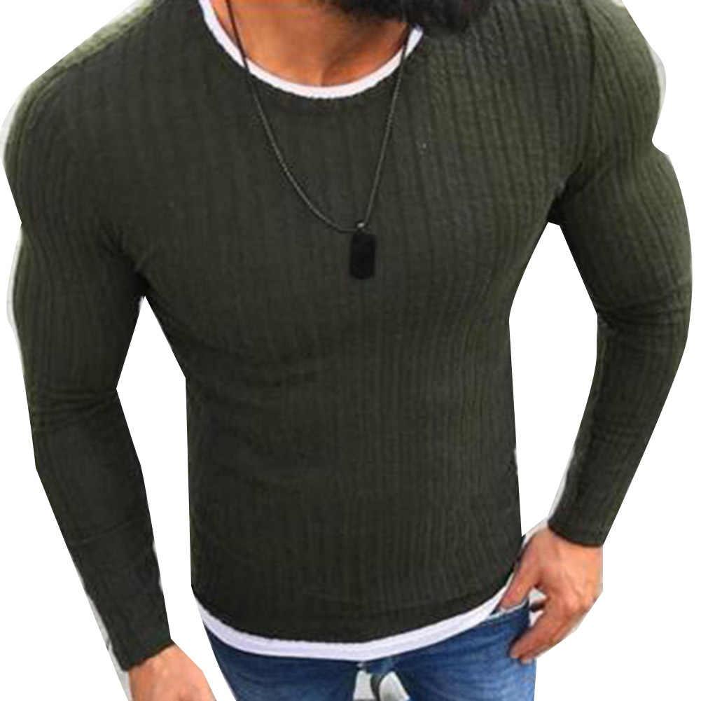 ファッション男性セータートップカラーブロックパッチワーク o ネック長袖プルオーバーニットセーターメンズ衣類冬