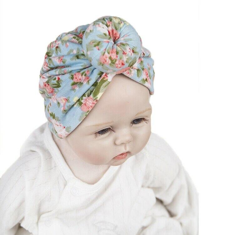 US STOCK Kids Baby Girl Turban Flower Head Wrap Adjustable India Hat Cotton Cap