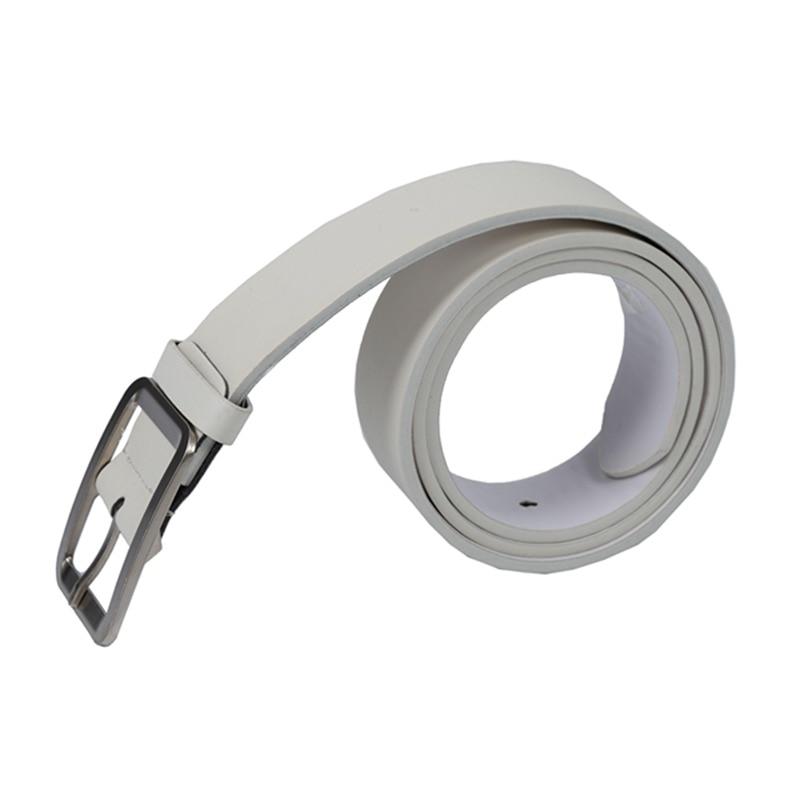 Men's Casual Waistband Belt Faux Leather Belt Buckle Waist Strap Belts White