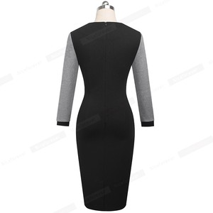 Image 2 - Nice forever Winter Elegant Contrast Color Patchwork Office Bow vestidos with Long Sleeve Business Bodycon Women Dress B554
