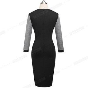 Image 2 - Nizza für immer Winter Elegante Kontrast Farbe Patchwork Büro Bogen vestidos mit Langarm Business Bodycon Frauen Kleid B554